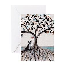 Boston Terrier Love Heart Tree Greeting Cards