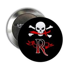 "Jolly Roger monogram R 2.25"" Button"