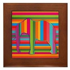 Abstract Stripe Elephant Framed Tile