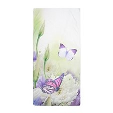 Flowers With Butterflies Beach Towel