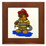 Mike the Firefighter Bear Framed Tile