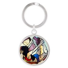 Floor Bow Yoga Pose Stained Glass P Round Keychain
