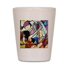 Floor Bow Yoga Pose Stained Glass Panel Shot Glass