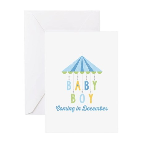 Baby Boy Due in December Greeting Card