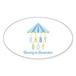 Baby Boy Due in December Sticker (Oval)