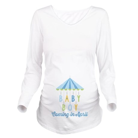 Baby Boy Due in Apri Long Sleeve Maternity T-Shirt