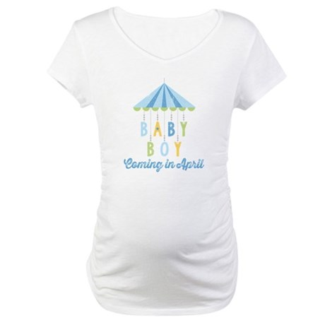 Baby Boy Due in April Maternity T-Shirt