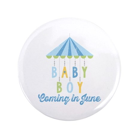 "Baby Boy Due in June 3.5"" Button"