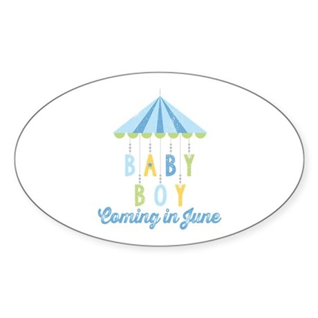 Baby Boy Due in June Sticker (Oval)