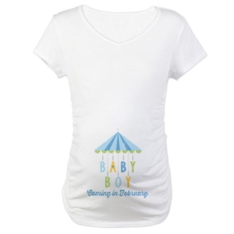 Baby Boy Due in February Maternity T-Shirt