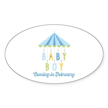 Baby Boy Due in February Sticker (Oval)