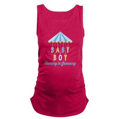 Baby Boy Due in January Maternity Tank Top