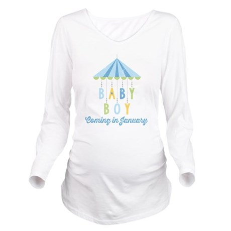 Baby Boy Due in Janu Long Sleeve Maternity T-Shirt