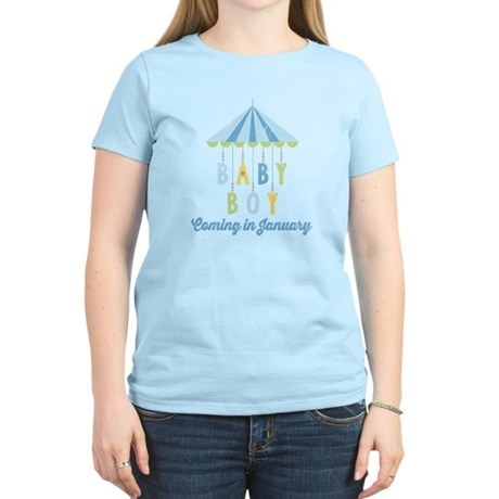 Baby Boy Due in January Women's Light T-Shirt