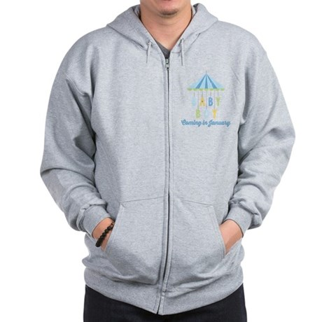 Baby Boy Due in January Zip Hoodie