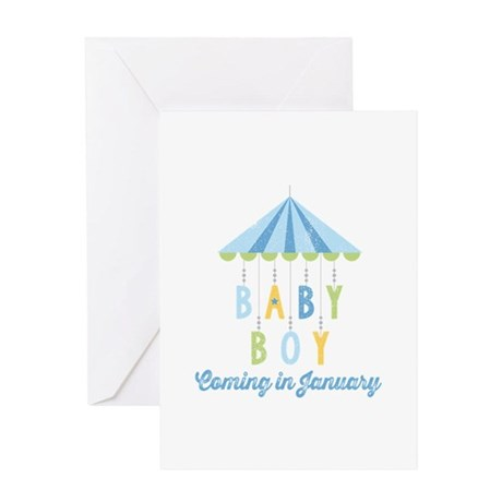 Baby Boy Due in January Greeting Card
