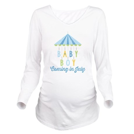 Baby Boy Due in July Long Sleeve Maternity T-Shirt
