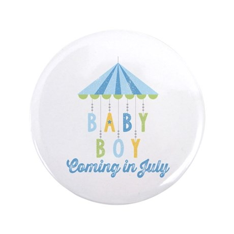 "Baby Boy Due in July 3.5"" Button"