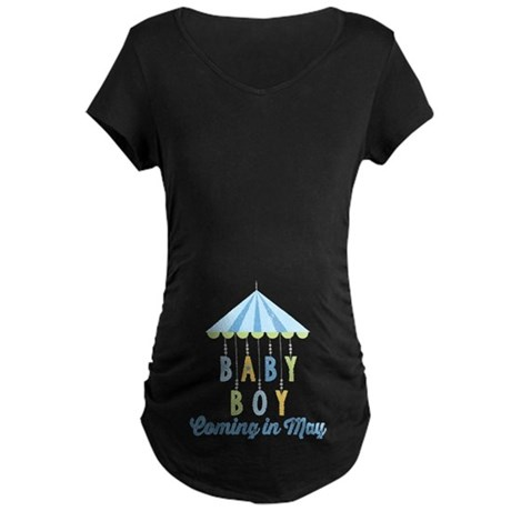 Baby Boy Due in May Maternity Dark T-Shirt