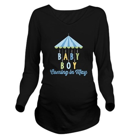 Baby Boy Due in May Long Sleeve Maternity T-Shirt