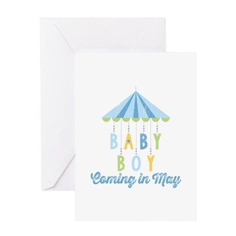 Baby Boy Due in May Greeting Card