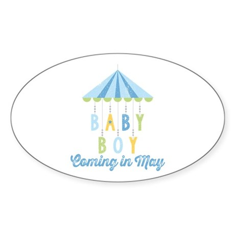 Baby Boy Due in May Sticker (Oval)
