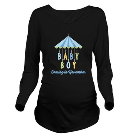 Baby Boy Due in Nove Long Sleeve Maternity T-Shirt