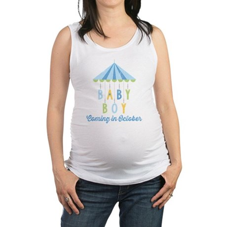 Baby Boy Due in October Maternity Tank Top