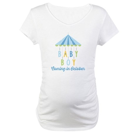 Baby Boy Due in October Maternity T-Shirt