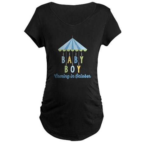 Baby Boy Due in October Maternity Dark T-Shirt