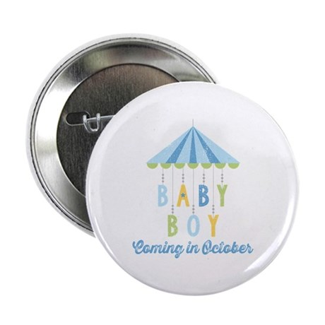 "Baby Boy Due in October 2.25"" Button"