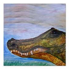 "Alligator Head Art Square Car Magnet 3"" x 3"""