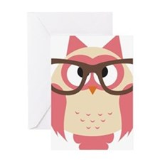 Owl with Glasses Greeting Cards
