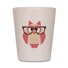 Owl with Glasses Shot Glass
