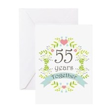 55th Anniversary flowers and hearts Greeting Card