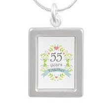 55th Anniversary flowers Silver Portrait Necklace