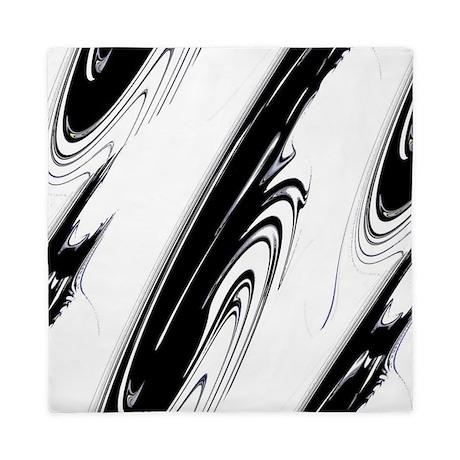 Black and White Flows Queen Duvet