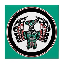 Haida Thunderbird green button Tile Coaster