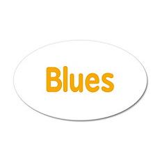 Blues word orange yellow music design Wall Decal