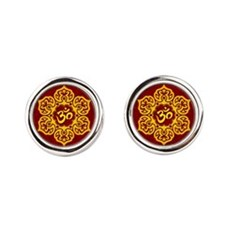 Golden Red Lotus Flower Yoga Om Cufflinks