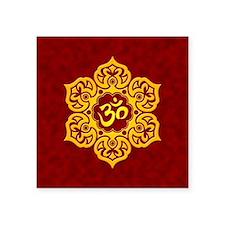 Golden Red Lotus Flower Yoga Om Sticker