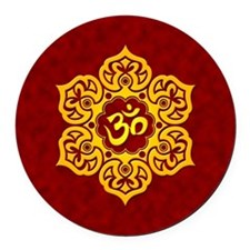 Golden Red Lotus Flower Yoga Om Round Car Magnet