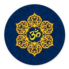 Golden Blue Lotus Flower Yoga Om Round Car Magnet