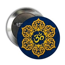 "Golden Blue Lotus Flower Yoga Om 2.25"" Button"