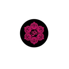 Pink and Black Lotus Flower Yoga Om Mini Button (1
