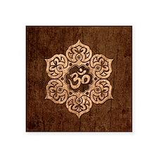 Lotus Flower Yoga Om with Wood Grain Effect Sticke