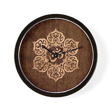 Lotus Flower Yoga Om with Wood Grain Effect Wall C