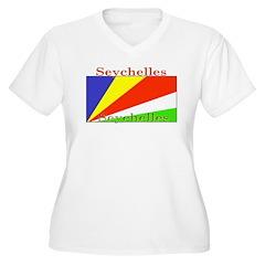 Seychelles Flag Women's Plus Size V-Neck T-Shirt