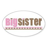 big sister pink brown Oval Stickers