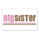 big sister pink brown Rectangle Decal